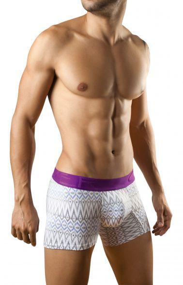 Boxer para hombre con estampados azules y negros y banda elastica en morado
