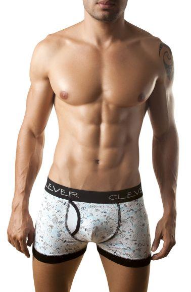 Boxer masculino de algodon con estampados y ribetes en color negro