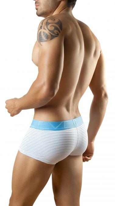 Boxer de hombre de tejido elastico en blanco con rayas y banda elastica Azul o Marron