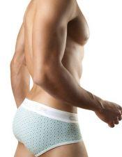 Slip masculino de algodon blanco con estampados verdesSLI00026