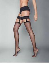 Medias sexys italianas lisas con doble liga MED00053