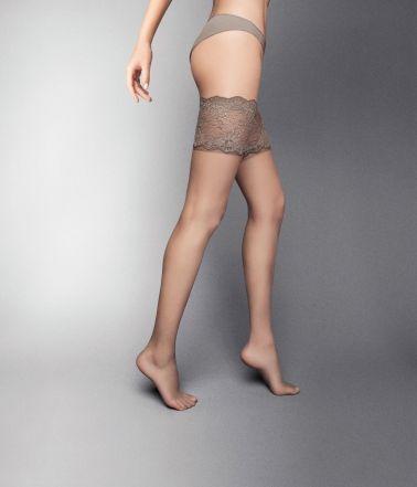 Ropa interior femenina: Medias sexys lisas con ligas de blonda con silicona