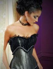 Elegante corset sexy plateado con encaje superpuesto en el pecho y detalles de entredos blanco CYC00187