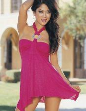 Mini vestido sexy elastico escote bandeau con argolla plateada cogido al cuello acabado en picos VES00113