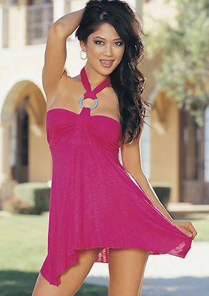 Mini vestido sexy elastico escote bandeau con argolla plateada cogido al cuello acabado en picos