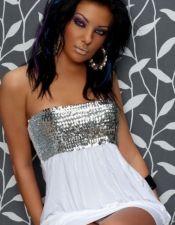 Mini vestido sexy palabra de honor con detalle de lentejuelas plateadas en pecho tejido elastico  VES00114