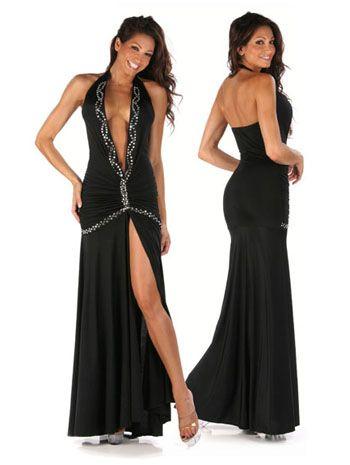 Sensual vestido sexy largo de fibra elastica con escote en V detalles de strass y tajo delantero