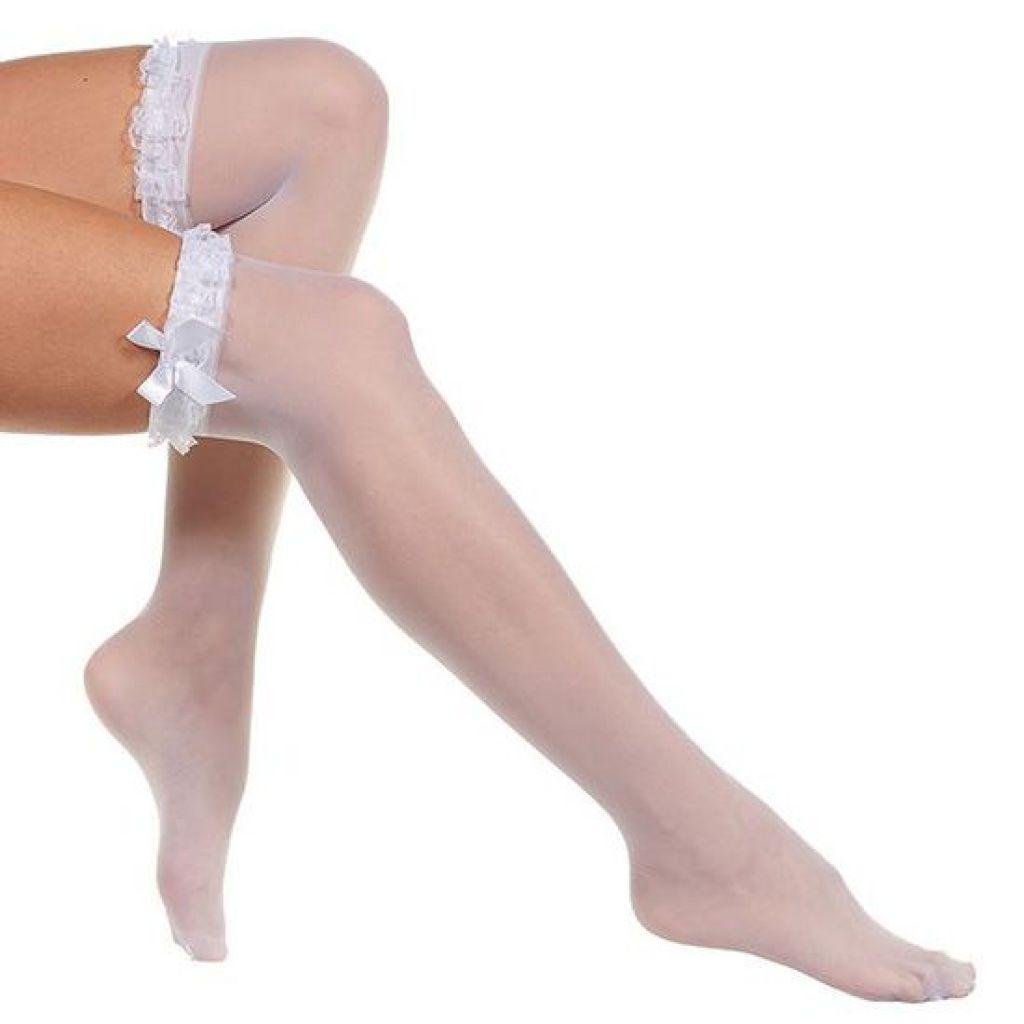 Medias sexys lisas con liga y divertido volante de puntilla con lazo lateral