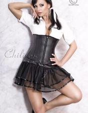 Novedoso corset de polipiel con el pecho descubierto ideal para llevar por encima de una blusa PLC00040