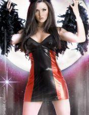 Novedoso disfraz sexy de DIABLESA de latex DIS00066