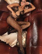 Sensual body sexy stocking erotico de red fina con agujeros y detalle de bijouterie en la parte cent BDS00095