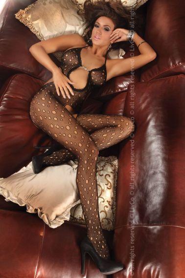 Sensual body sexy stocking erotico de red fina con agujeros y detalle de bijouterie en la parte cent