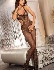 Body sexy stocking erotico de red fina con agujeros y cintura descubierta BDS00097