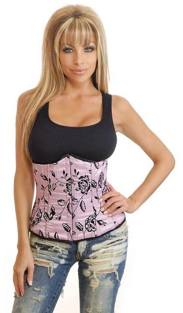 Corsé rosa tipo fajín con estampados florales en color negro