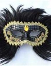 Máscara de fantasía estilo veneciano con plumaje negro ACC00051