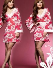 Bata sexy tipo Kimono satinado estilo Geisha con estampados florales y solapa rosa BAT00029