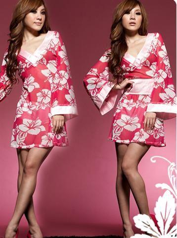Bata sexy tipo Kimono satinado estilo Geisha con estampados florales y solapa rosa