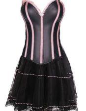 Corsé sexy negro satinado con ballenas y ribetes rosas y falda de tul CYC00211