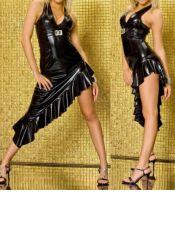 Vestido sexy de tejido elástico en color negro atado al cuello VES00126