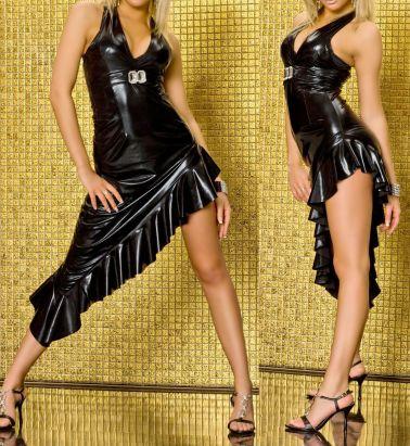 Vestido sexy de tejido elástico en color negro atado al cuello