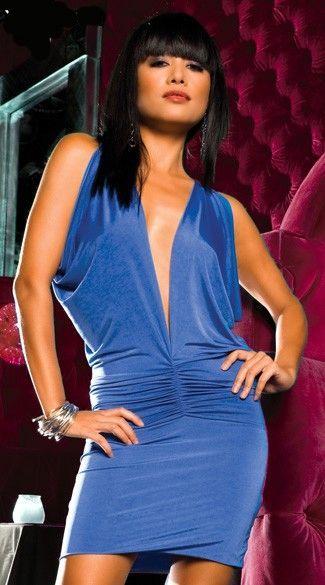 Novedoso vestido sexy de color azul con escote en V