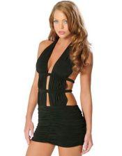 Vestido sexy de color negro con espalda descubierta VES00128