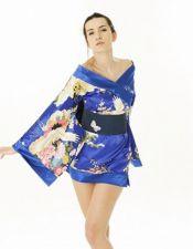 Kimono satinad estilo Geisha con estampados multicolores y cinturon negro BAT00031