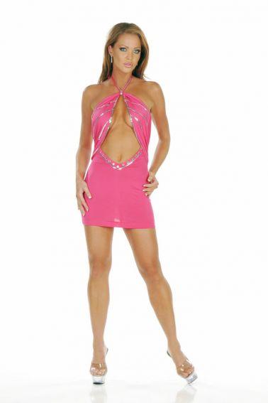 Minivestido sexy de color rosa con detalles plateados