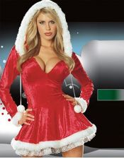 Vestido de Navidad de terciopelo con mangas largas y capucha DIS00068