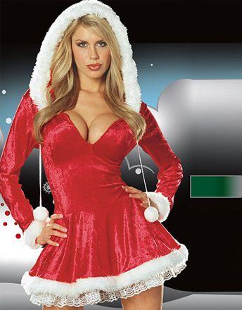 Vestido de Navidad de terciopelo con mangas largas y capucha