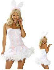 Disfraz sexy de Conejita Sexy con plumas en la falda y diadema con orejas DIS00070