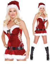 Atractivo disfraz sexy navideño aterciopelado DIS00074