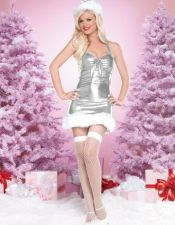Minivestido navideño de color plateado DIS00080