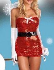 Vestido navideño semitransparente con lentejuelas DIS00084
