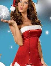 Disfraz sexy de Navidad corte palabra de honor con brillantes y volante al final DIS00085