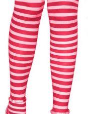 Divertidas medias sexys de tejido elastico rayado en rojo y blanco con lazos con fresas MED00086