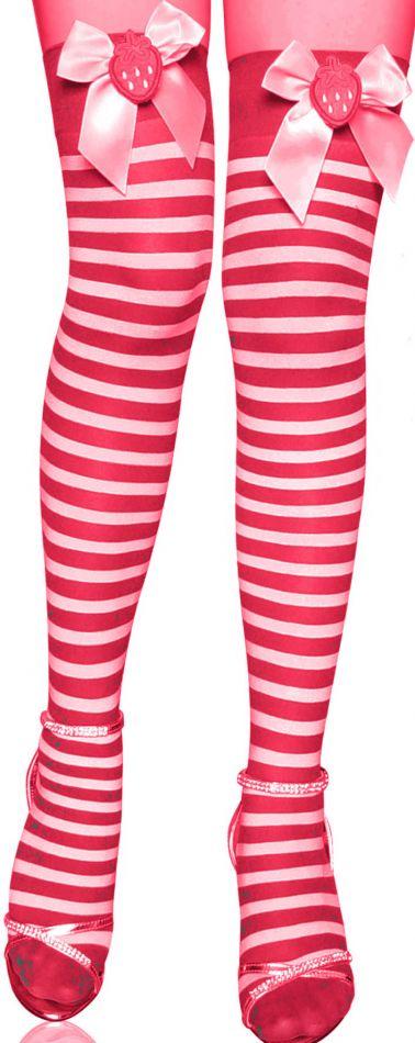 Divertidas medias sexys de tejido elastico rayado en rojo y blanco con lazos con fresas