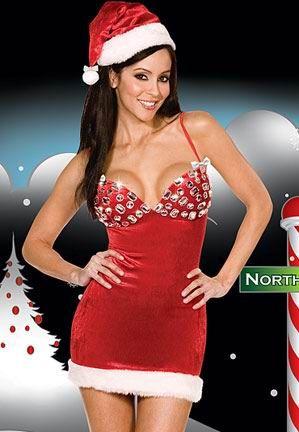 Sensual vestido de Navidad de textil afelpado con pedrería en el sujetador