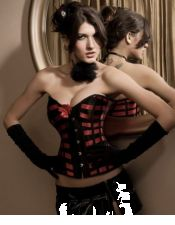 Atractivo corsé sexy con lazadas rojas CYC00220