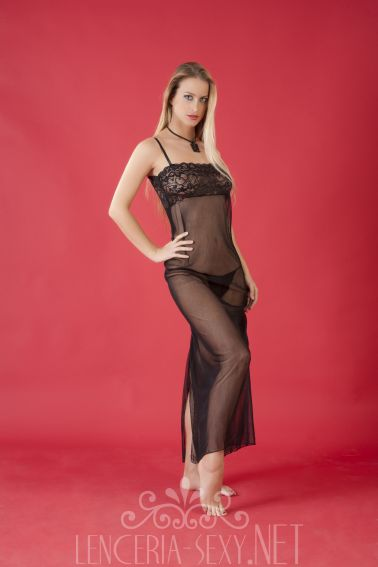 Sensual camisón sexy largo de ropa interior femenina de microtul