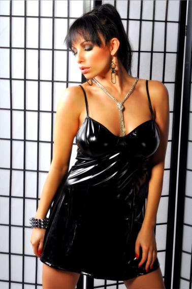 Sensual vestido de ropa interior femenina abierto por detrás