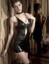 Sensual mini vestido de efecto latex PLC00053