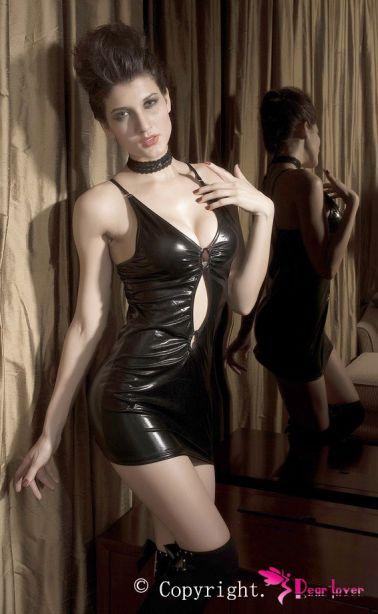 Sensual mini vestido de efecto latex