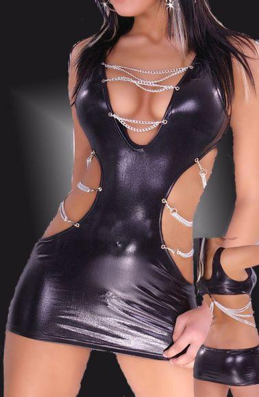 Atrevido vestido de efecto vinilo con aberturas en los laterales