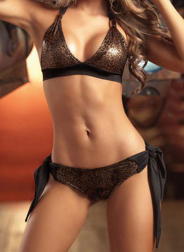 Exótico Conjunto sexy de tejido elástico negro y latex con motivos de leopardo dorado cobre y negro