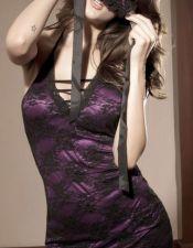 Babydoll de microtul con bordados florales de doble tejido en color purpura BAB00333