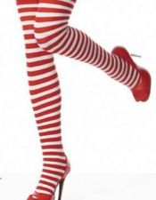 Originales medias sexys tipo calcetas a rayas blancas y rojas MED00110