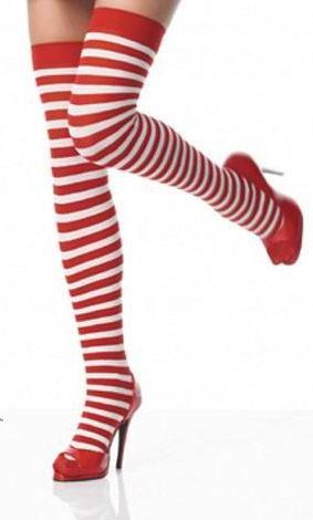 Originales medias sexys tipo calcetas a rayas blancas y rojas