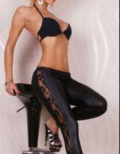 Sensual leggin de tejido elástico simulando al vinilo con encaje en los laterales LEG00006