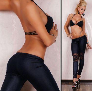 Sensual leggin simulando al vinilo con encaje en las rodillas